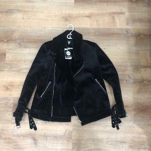 Boohoo man black velour biker jacket